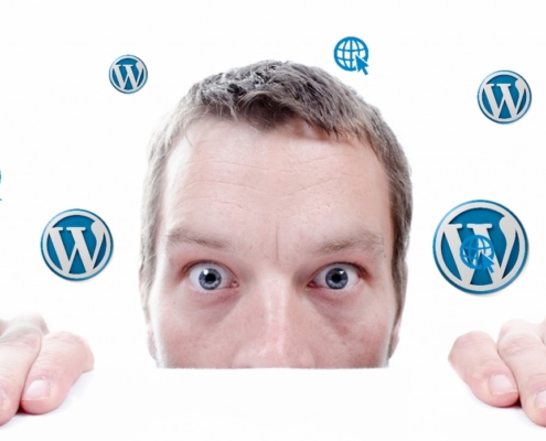 Man die gefrustreerd is door wordpress